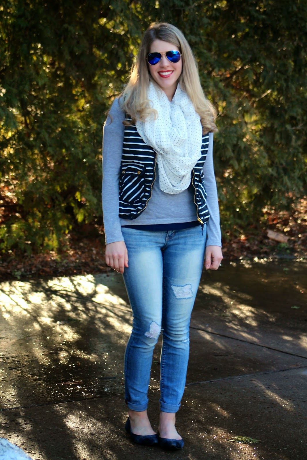 5d9cb6dc5f striped vest polka dot scarf and distressed jeans spring outfit
