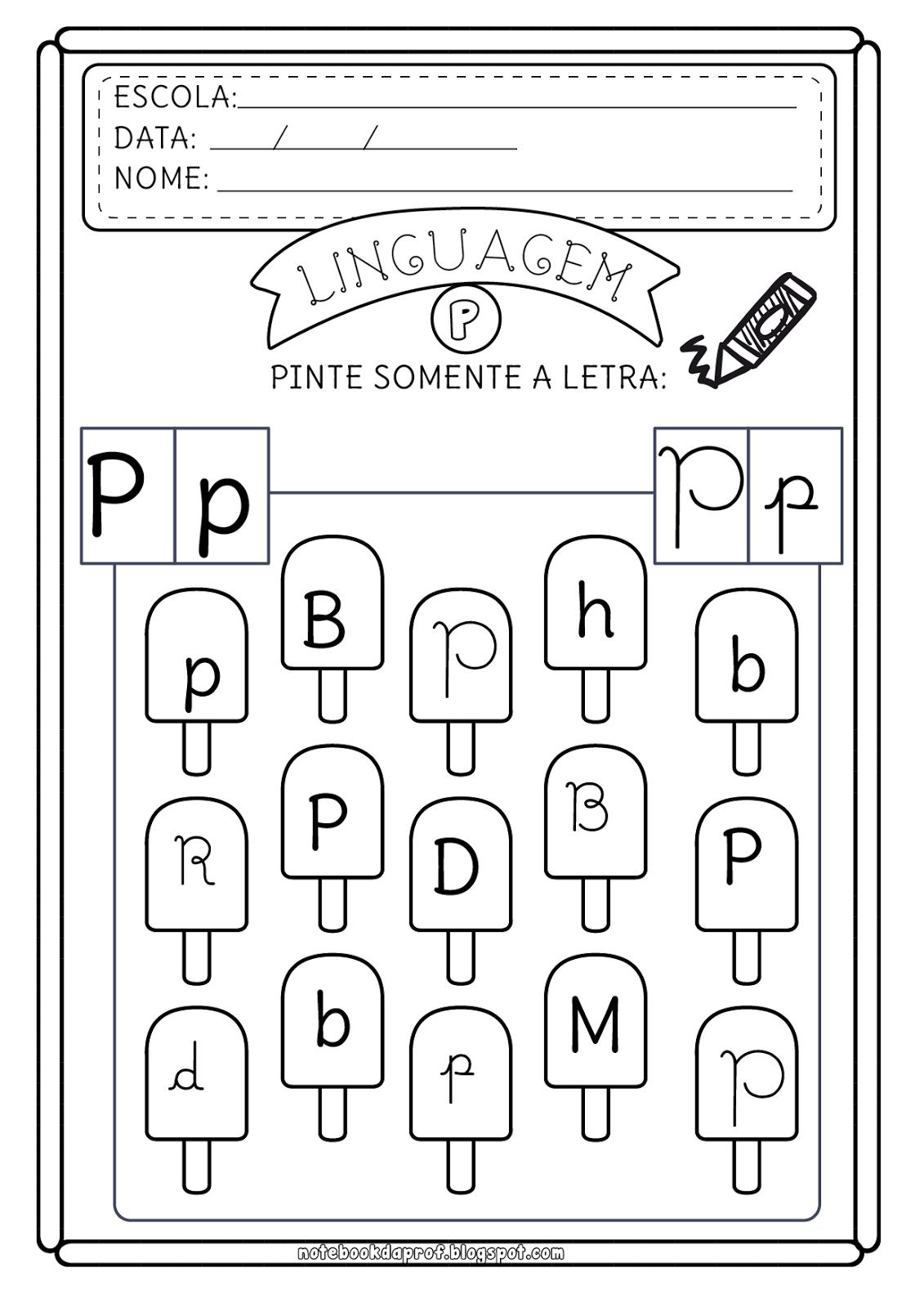 Notebook Da Profa Atividades Letra P