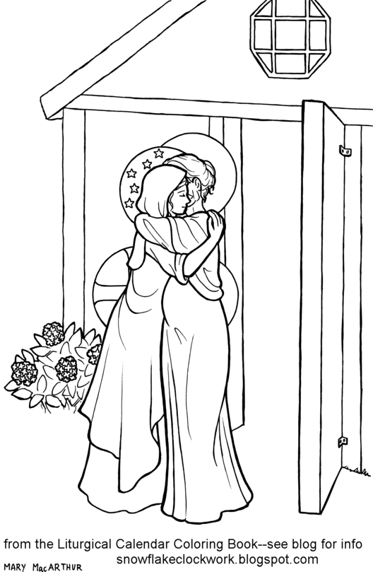 Snowflake clockwork may pages and visitation coloring page for Mary visits elizabeth coloring page