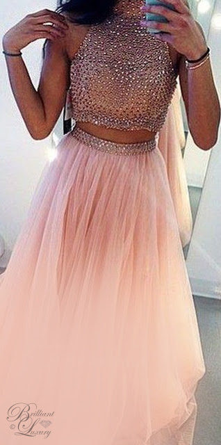 Brilliant Luxury ♦ Glamrous high neck beadings prom dress 2018 two pieces style in rose gold