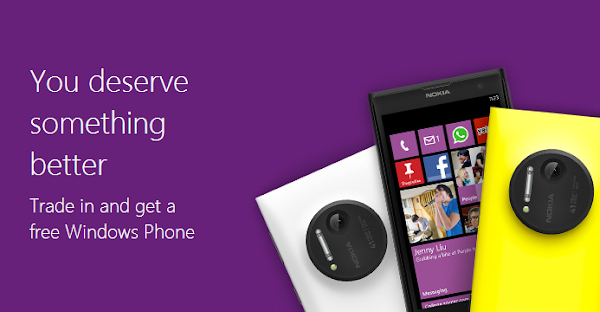 Microsoft will give you a free Lumia 1020 or Lumia 1520 if you trade in your used iPhone 4, iPhone 4s or Samsung Galaxy S II