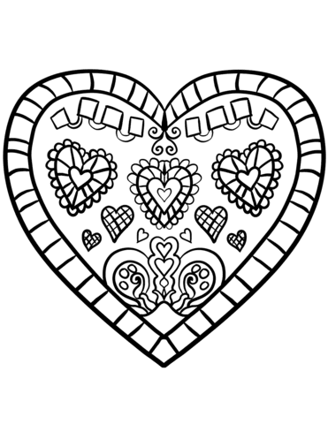 Click to see printable version of A Heart Decorated Coloring page