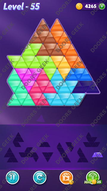 Block! Triangle Puzzle 10 Mania Level 55 Solution, Cheats, Walkthrough for Android, iPhone, iPad and iPod