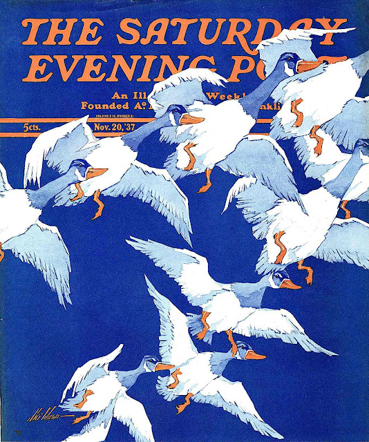 a Ski Weld color illustration of a rising flock of birds, Saturday Evening Post Nov. 20 1937