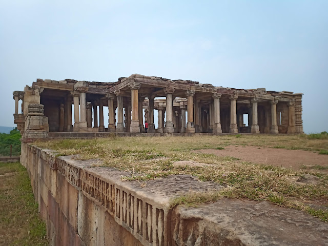 Pillars, some parts of roof and walls of medieval period hall in Champaner