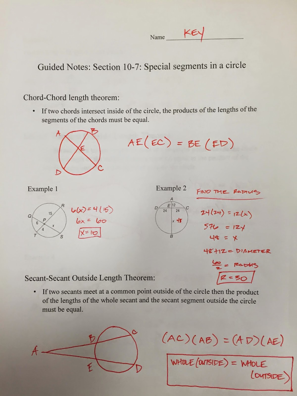 Honors Geometry - Vintage High School: Section 10-7 ...