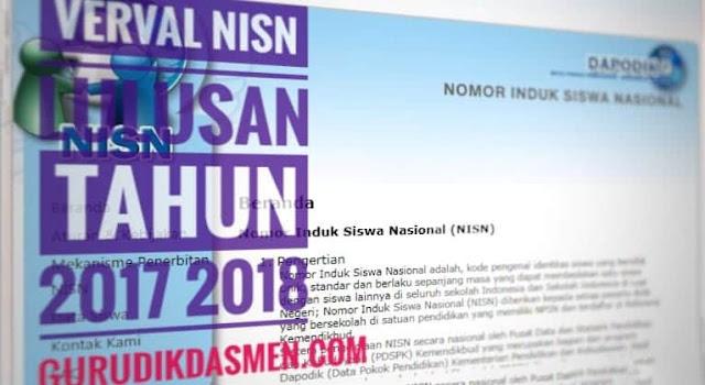 Verval NISN Lulusan Tahun 2017 dan 2018