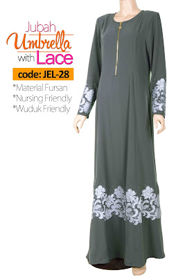 Jubah Umbrella Lace JEL-28 Grey Depan 3