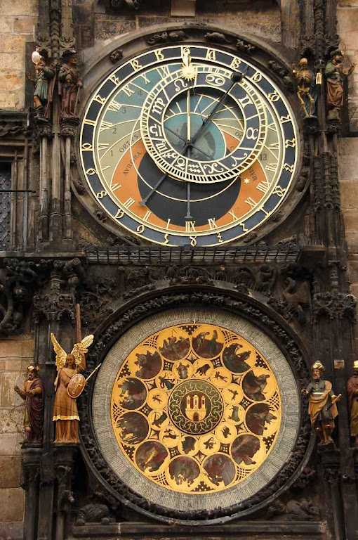 Detalhe do relógio astronômico na Praça da Cidade Velha, Praga.