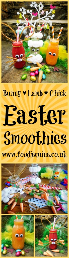 www.foodiequine.co.uk Easter craft and food combine in these oh so cute fruit and vegetable smoothies. Perfect for Easter breakfast or brunch and the ideal antidote to all those Chocolate Easter Eggs!