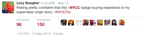 NYCC ticket frustration on twitter