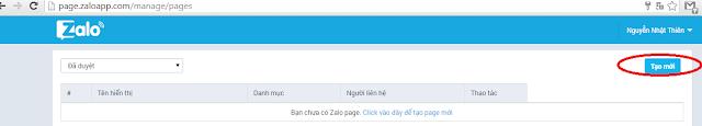 Hướng dẫn tạo Page Zalo nhanh nhất 2015