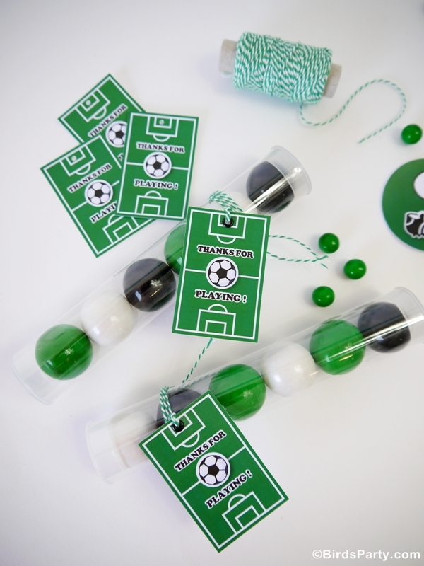 Soccer Football DIY Birthday Party Favors - BirdsParty.com