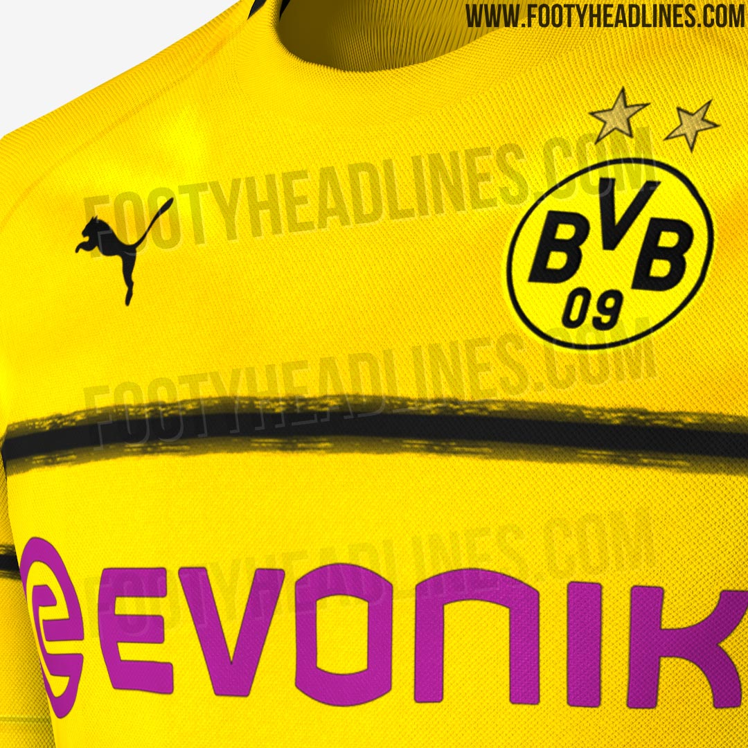8b9aadb27ba Black trim is present along the sides of the collar on the Borussia Dortmund  18-19 Champions League shirt.