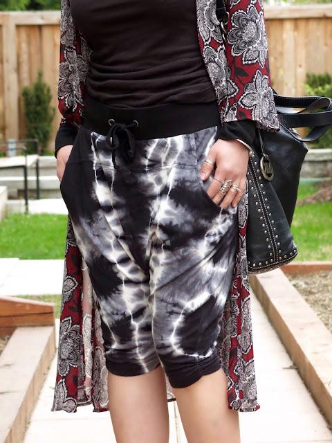 tie-dye jersey harem shorts, floral kimono, MK bag