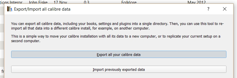 Calibre tips and tricks first click on the your library name button on the main screen and select exportimport all calibre data fandeluxe Gallery