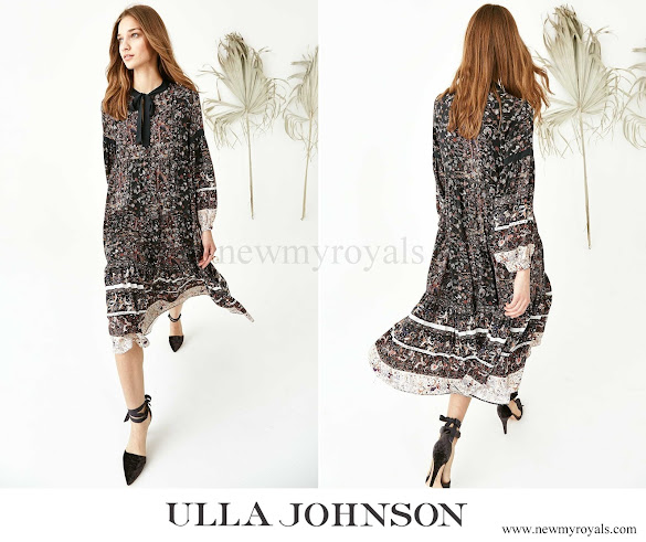 Crown Princess Mette Marit wore Ulla Johnson Isabetta Printed Silk A-line Dress