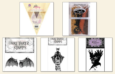 Scraps of Darkness annual Halloween mixed media scrapbook kit: Danse Macabre Creativity Add On, featuring Prima Julie Nutting Banner Pad, Stampendous embossing powder, twine, and Paper Parachute Art Tartz Bat Wings, Bat Woman, and Crow/Raven rubber stamps