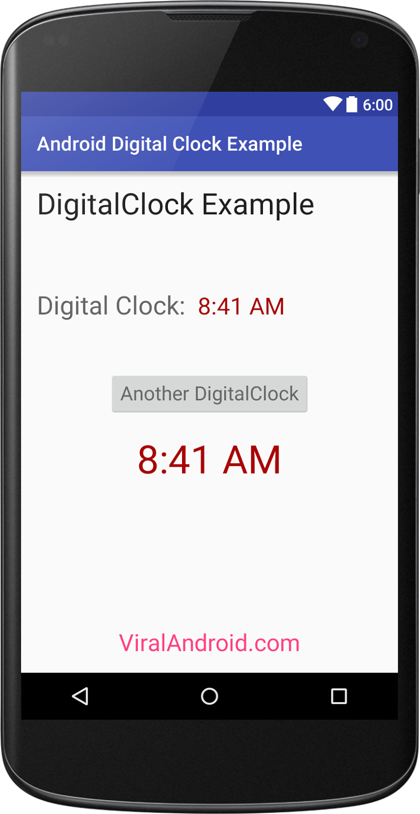 Android DigitalClock Example | Viral Android – Tutorials, Examples