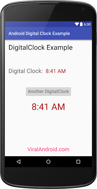 Android DigitalClock: How to Display DigitalClock in Android
