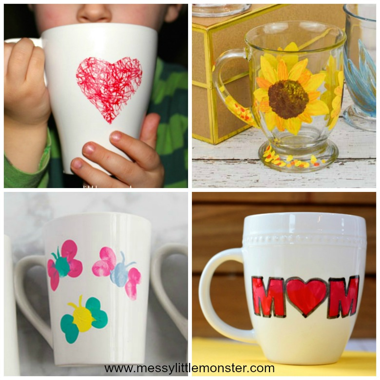 Homemade gifts for mom from kids - easy diy painted mug gift ideas that kids can make.