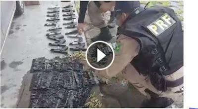 PRF apreende arsenal com dezenas de pistolas e milhares de munições para fuzil na Régis Bittencourt