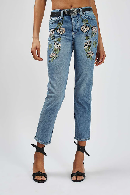 topshop jeans embroidered, embroidered flower jeans,