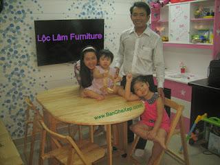 Bộ bàn ăn gấp xếp gọn gàng Lộc Lâm Furniture