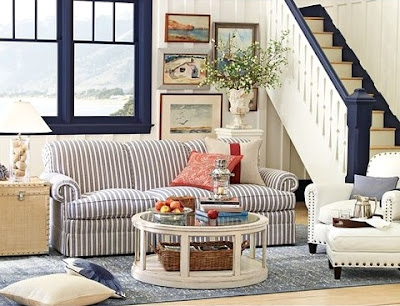 nautical navy blue stripe sofa decor idea