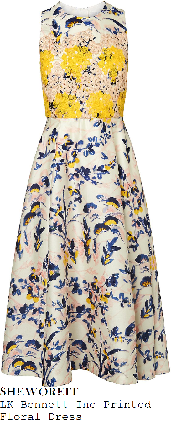 holly-willoughby-lk-bennett-ine-cream-pale-pink-yellow-and-blue-floral-applique-detail-floral-print-dress