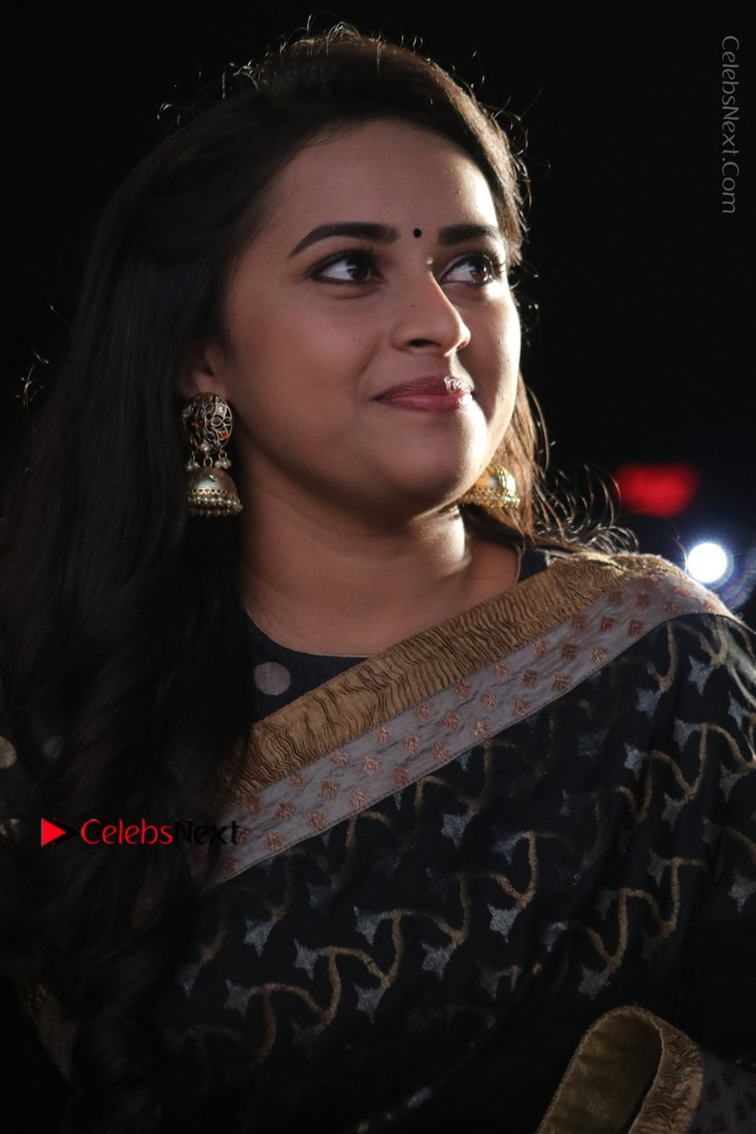 Sri Divya Latest Photos in Black Saree at Sangili Bungili Kathava Thora Tamil Movie Audio Launch