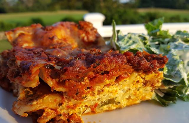 Lasagna and a side salad