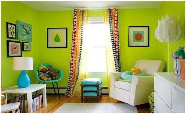 ide warna cat ruang tamu hijau lemon