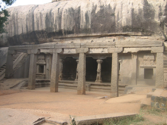 Front facade of 6th century cave temple in Mahabalipuram India