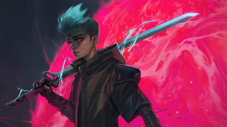 Cyberpunk, Sci-Fi, Sword, Digital Art, 4K, #131
