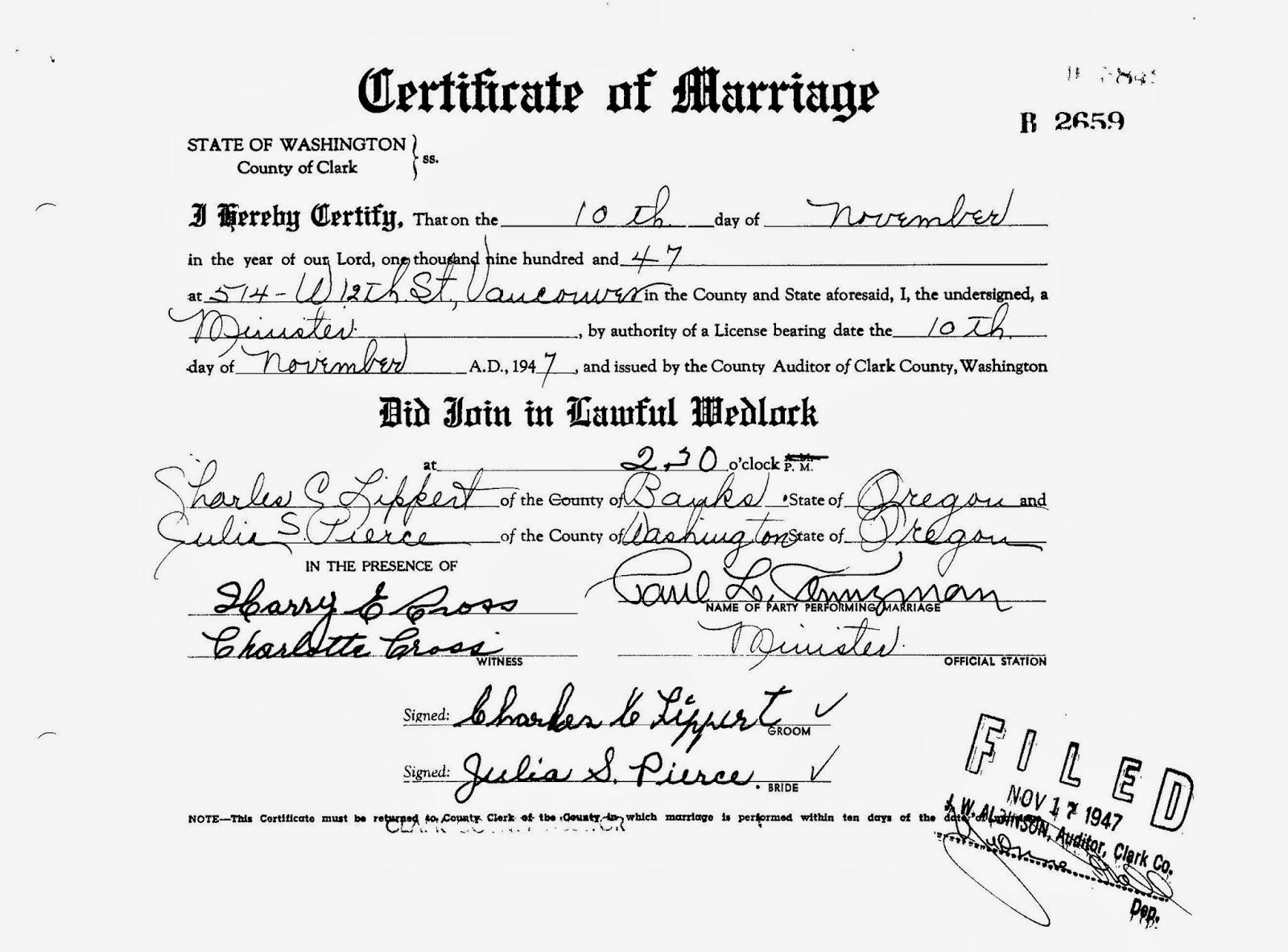 lippert marriage certificate millican al washington pierce usa charles clark carrara genealogy et julia