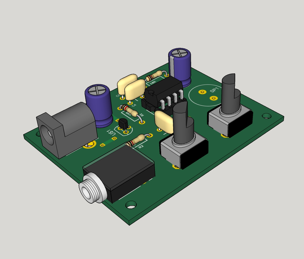 The Answer Is 42 Lm386 Ruby Amplifier Audio Circuit With Pcb Eagle3d Render Populated
