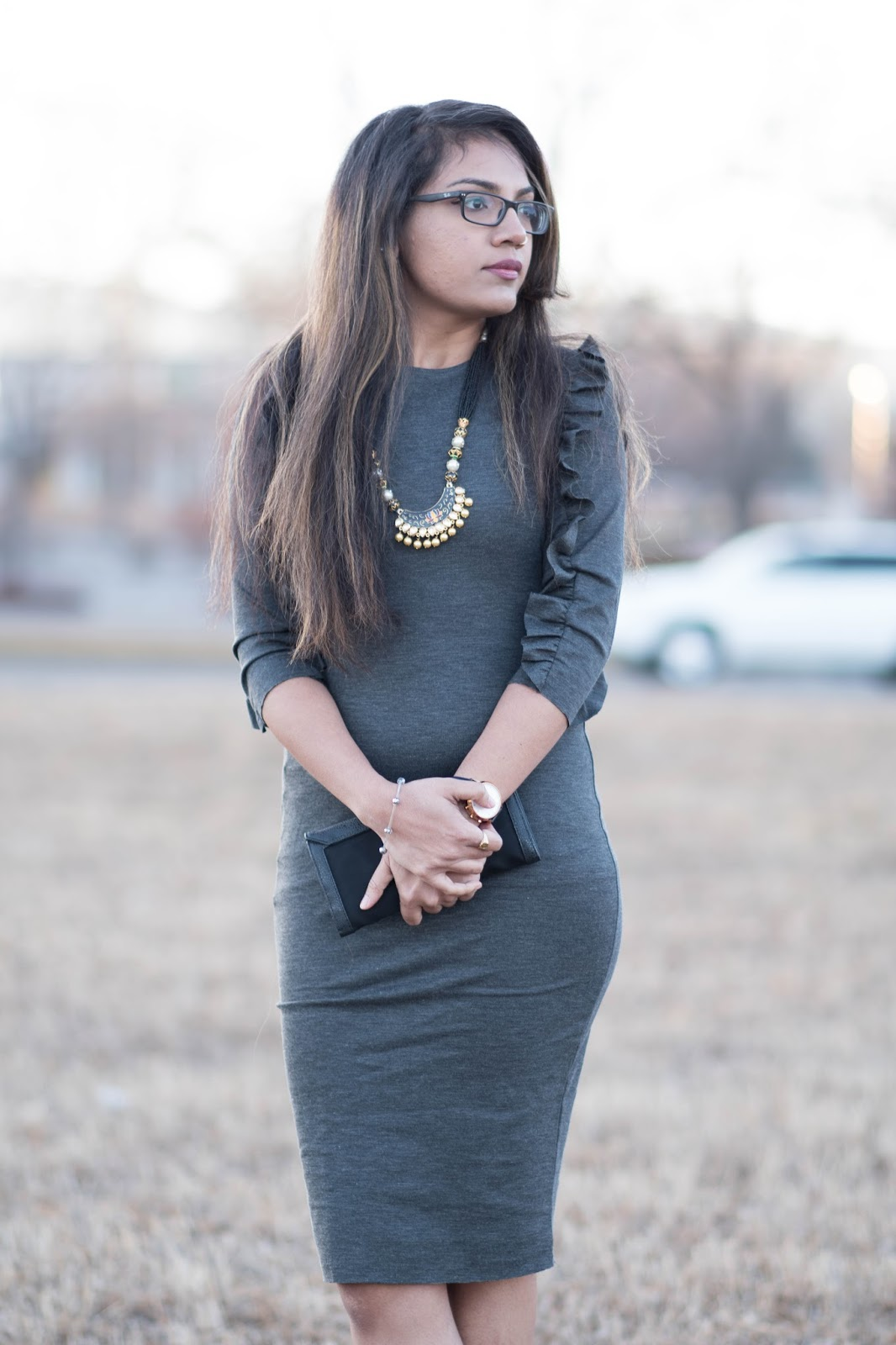 Aim for Glam_ Prasanthi Kadiyala_ Ruffled Knit Dress_Zara