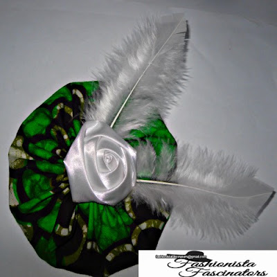 green African print saucer fascinator weddings Nairobi Kenya