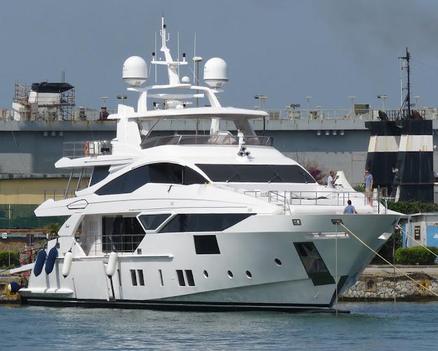 A 38-meter Benetti Vivace 125 yacht inside the Porto Mediceo, Livorno