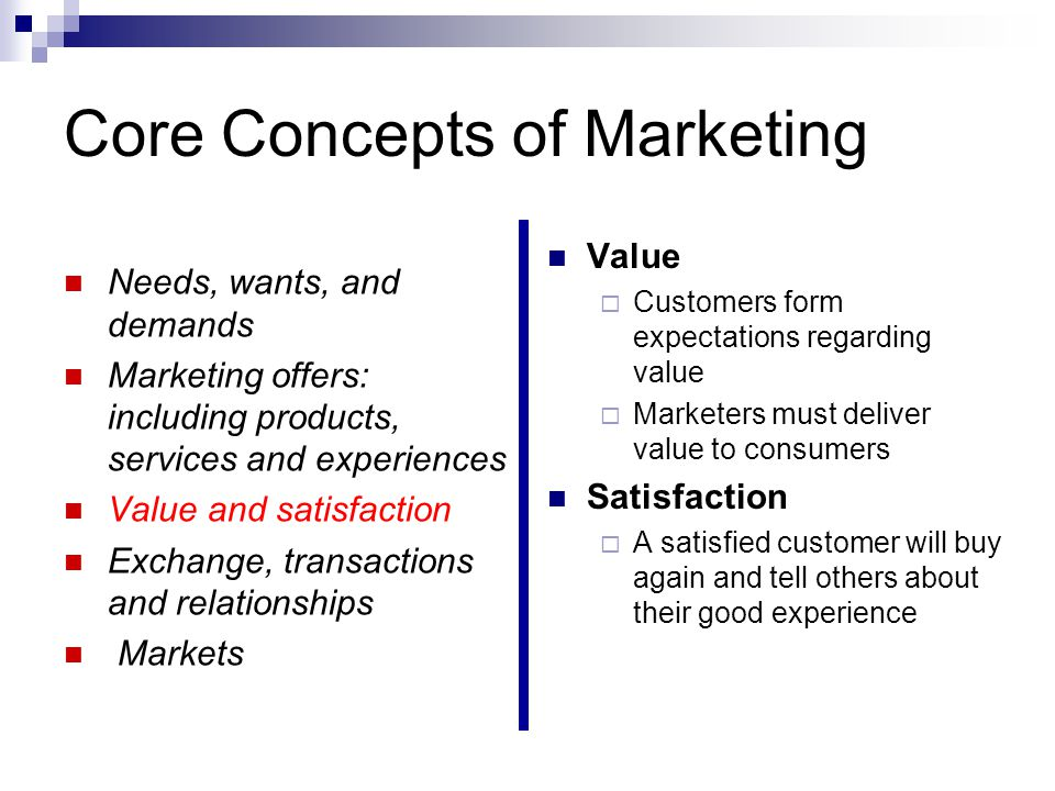 5 core marketing concepts 5 core concepts of customer and marketplace allow you to understand and examine the customer, marketplace, and way it behaves in various situations core concepts of customer and marketplace are needs, wants, and demands, market offerings, value and satisfaction, exchanges and relationships and markets.