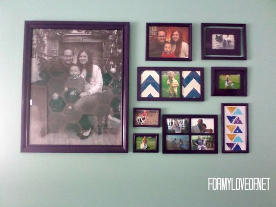 This Family Displayed Family Photos In A Unique Teal and Purple Family Photo Gallery Wall - Designed By TheBohoAbode.net