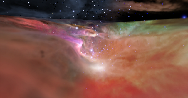 Visible and Infrared Visualization of the Orion Nebula. Credit: NASA, ESA, F. Summers, G. Bacon, Z. Levay, J. DePasquale, L. Frattare, M. Robberto and M. Gennaro (STScI), and R. Hurt (Caltech/IPAC)