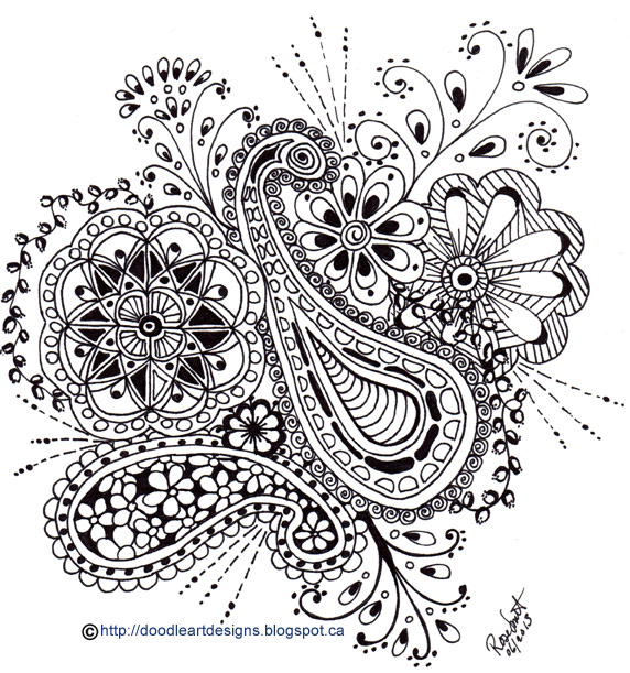 black and white zen doodle art with paisley print and flowers