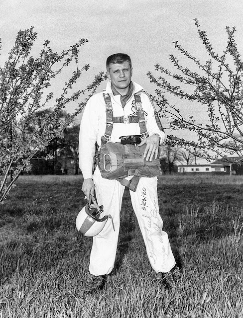 1960 photograph of Walter Reca outfitted for a jump. Reca was a highly skilled skydiver and former U.S. Army Airborne paratrooper who served in the Korean War.