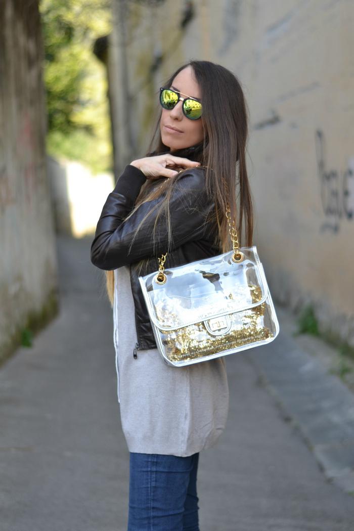 borsa trasparente interno paillettes oro