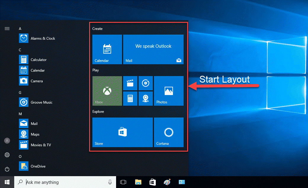 Hướng dẫn áp dụng Start layout khi rebuild Windows 10 version 1709