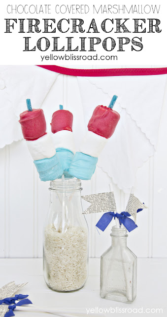 Chocolate Covered Marshmallow Firecrackers! A perfect treat for Memorial Day BBQs or Fourth of July parties!