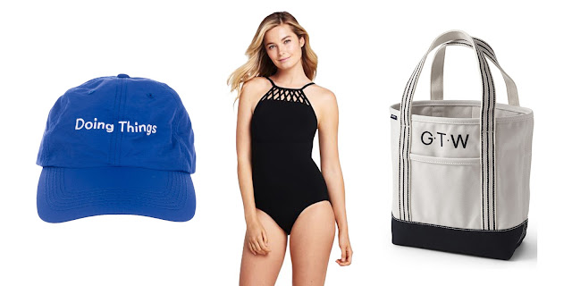 Outdoor Voices Doing Things Hat, Lands' End One Piece Lattice Swimsuit, Lands' End Canvas Tote, Land's End Essentials, Best Canvas Tote, Doing Things, College Blogger, Lifestyle Blogger, Fashion Blogger
