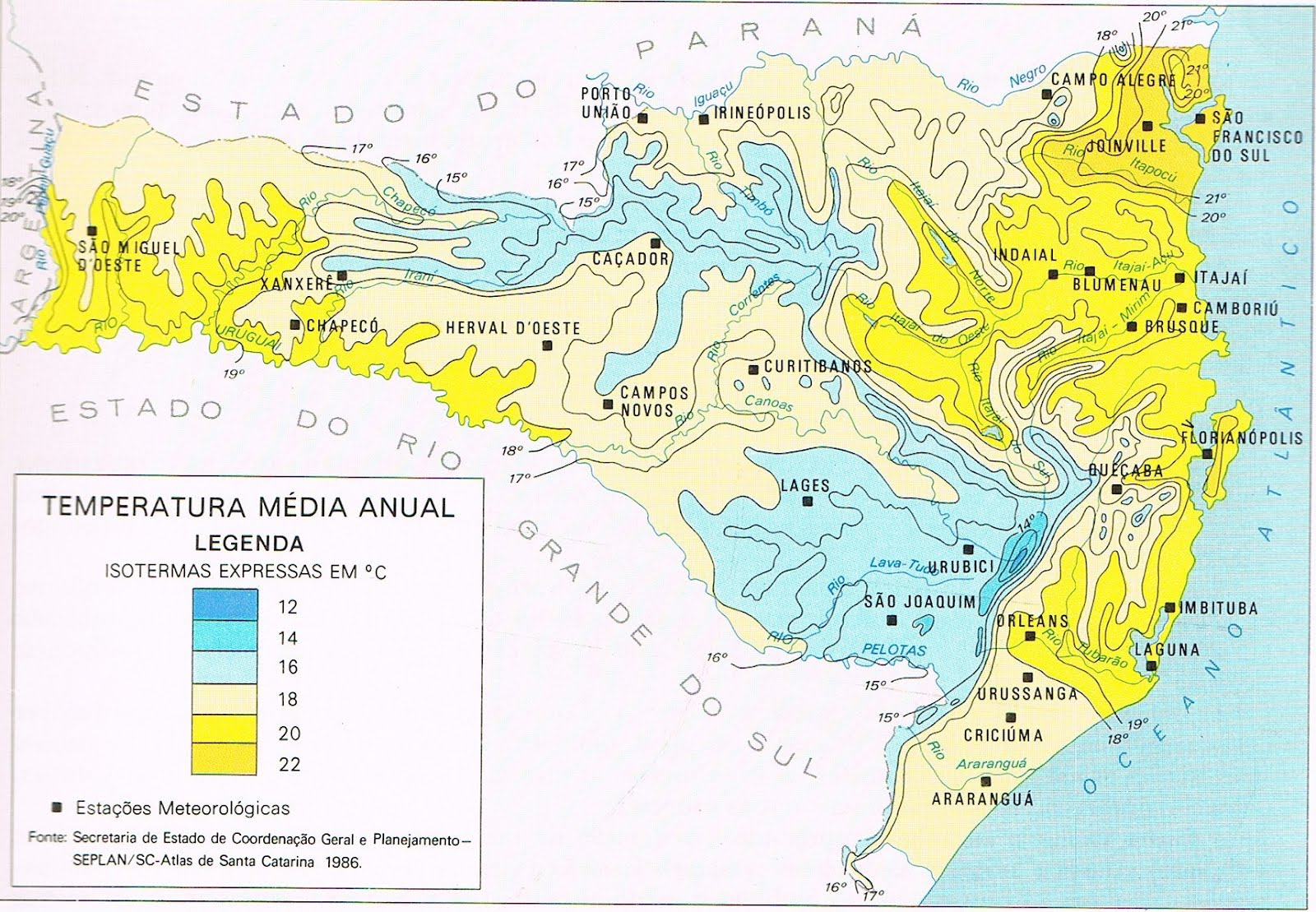Mapa de Santa Catarina